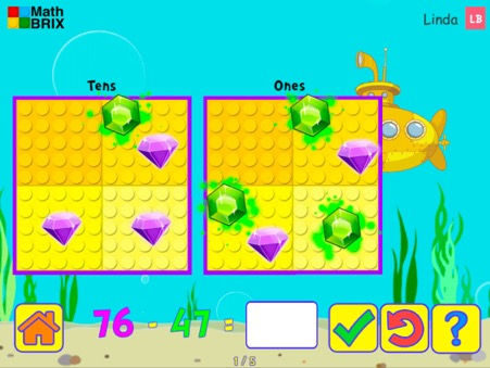 Minicomputer: Subtraction within 100 (splitting tens) Math Game