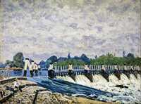 'Molesey Weir – Morning', one of the paintings executed by Sisley on his visit to Britain in 1874