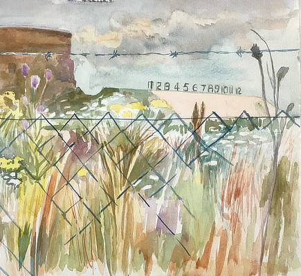 watercolour painting of firing range with martello tower in background and barbed wire fence in foreground