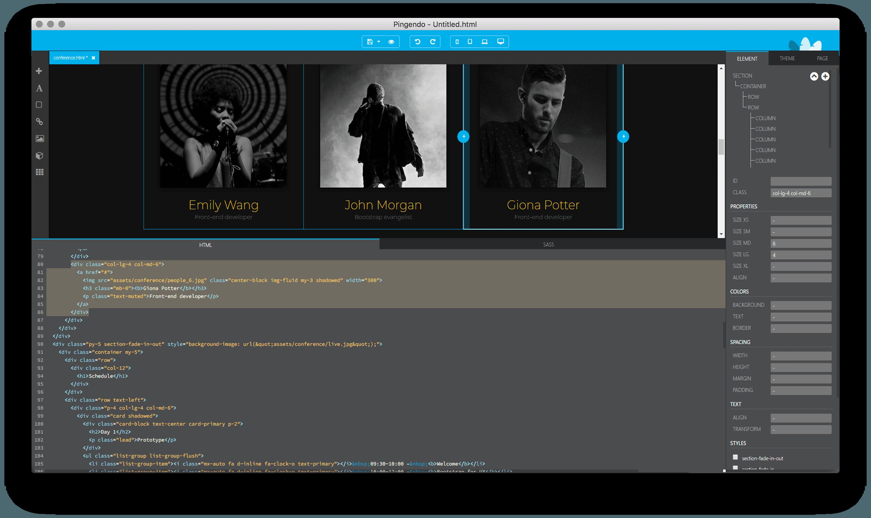 Pingendo drag-and-drop visual builder