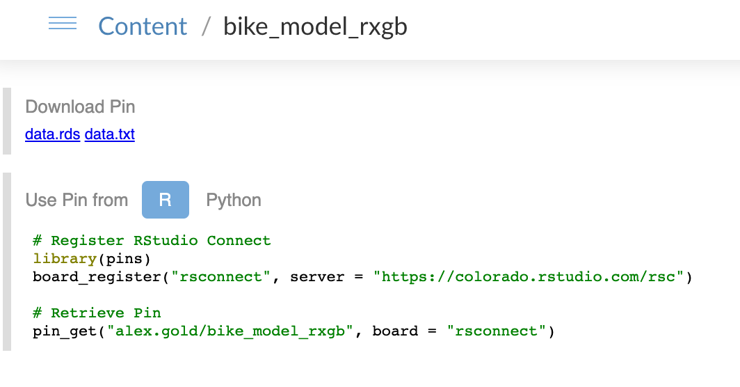 Pinned XGBoost model on RStudio Connect.