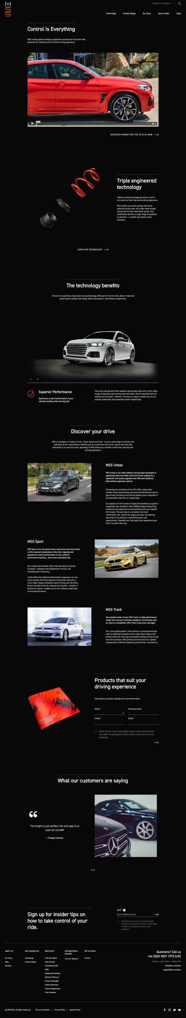 First screenshot of MSS website