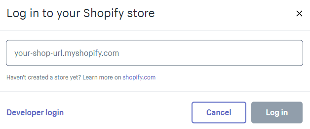 Login to your shopify store