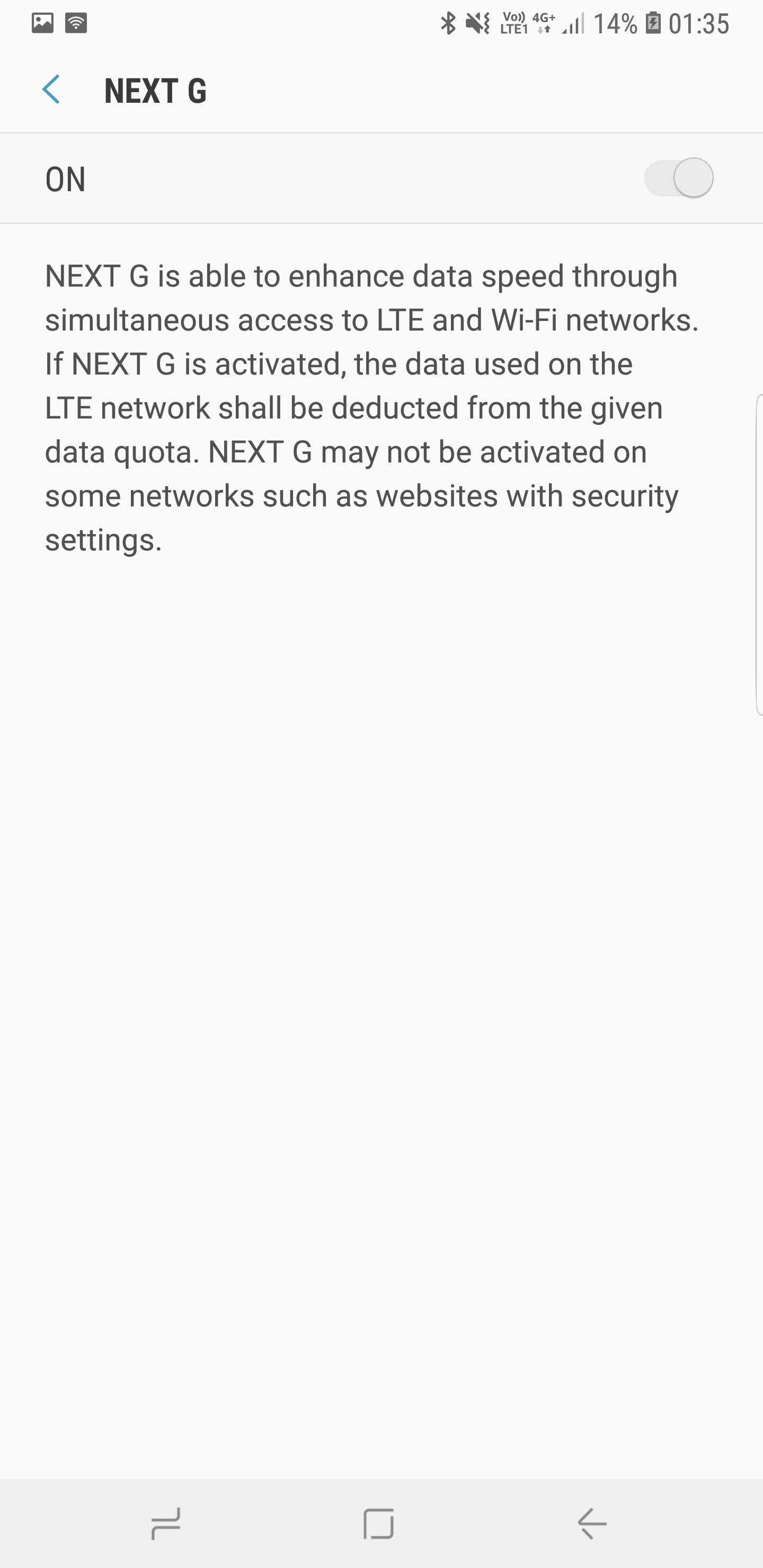 Samsung Galaxy Note 9 Next G Setting