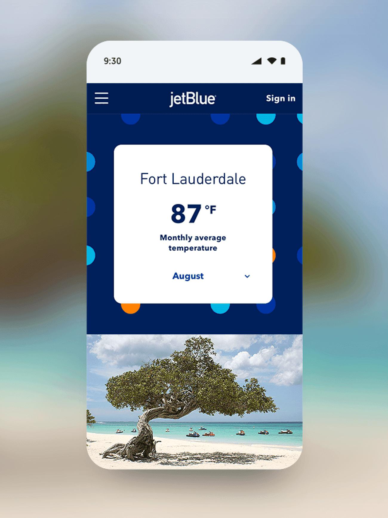 Jetblue mobile layout