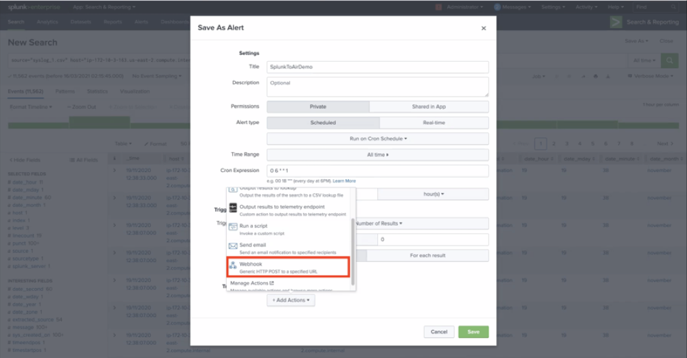 Search for webhook in the trigger action options.