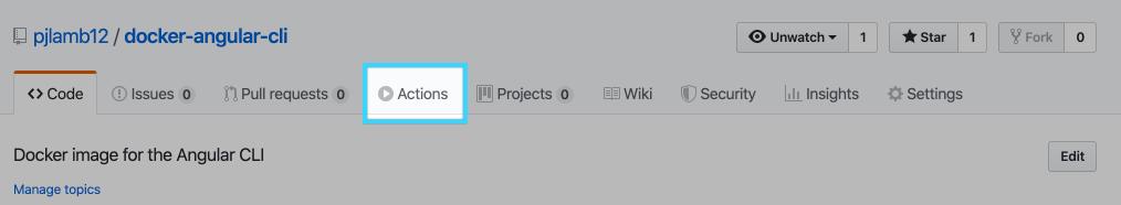 GitHub repo actions tab