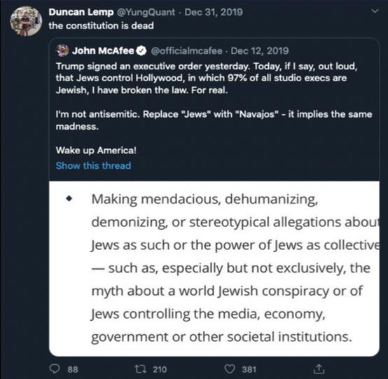 Duncan Lemp's last tweet, quoting an anti-Semitic rant by John McAfee.