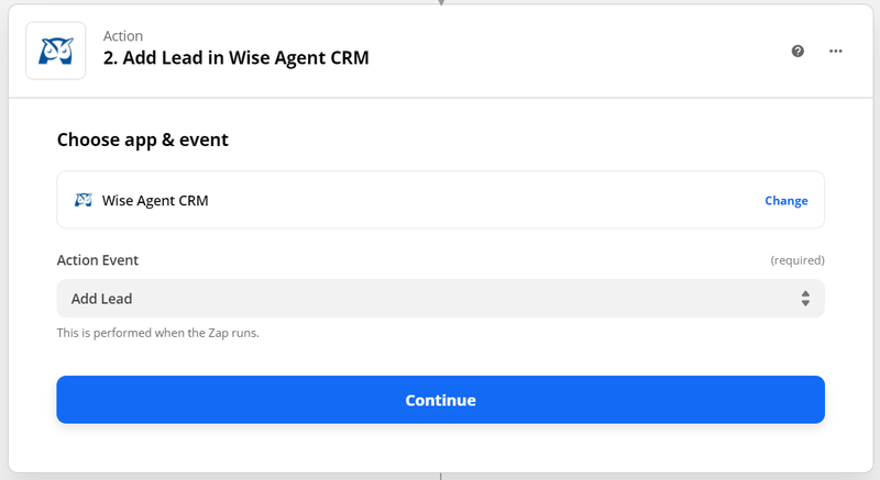 Choose action event in wise agent as add lead