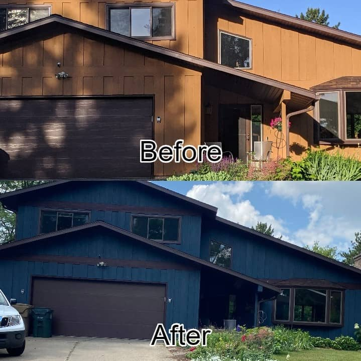 before and after of a newly painted home