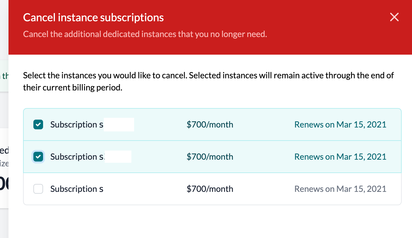 cancel additional instance modal