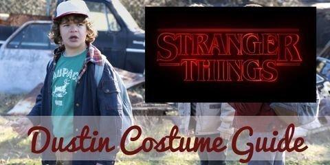 Dress like Dustin Henderson with trucker hat, graphic tee, windbreaker jacket, corduroy pants, athletic shoes, & optional walkie talkie.