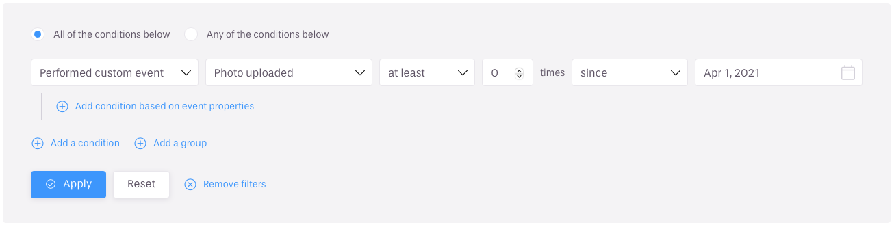 Improved event filters with fixed dates