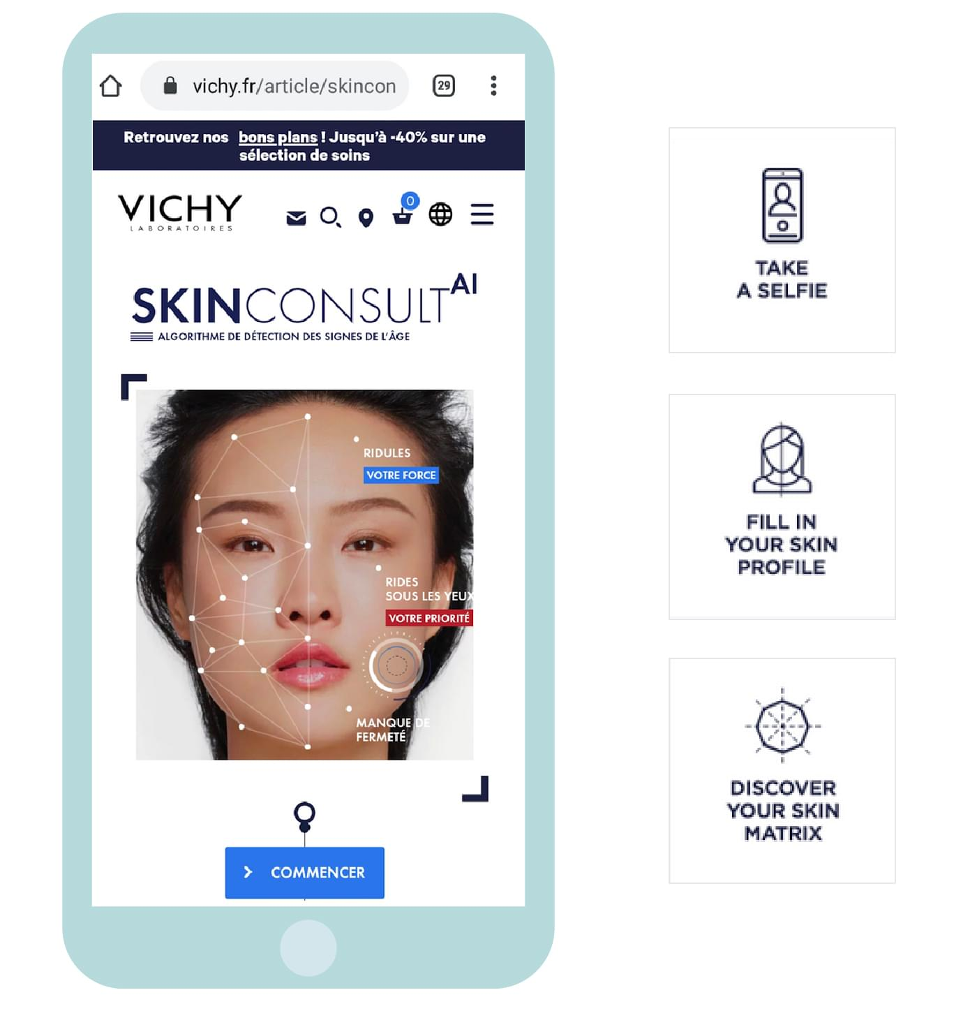Customer case: our answer to help Vichy, brand of the L'Oréal Group, optimise the value proposition and user experience of their skin analysis.