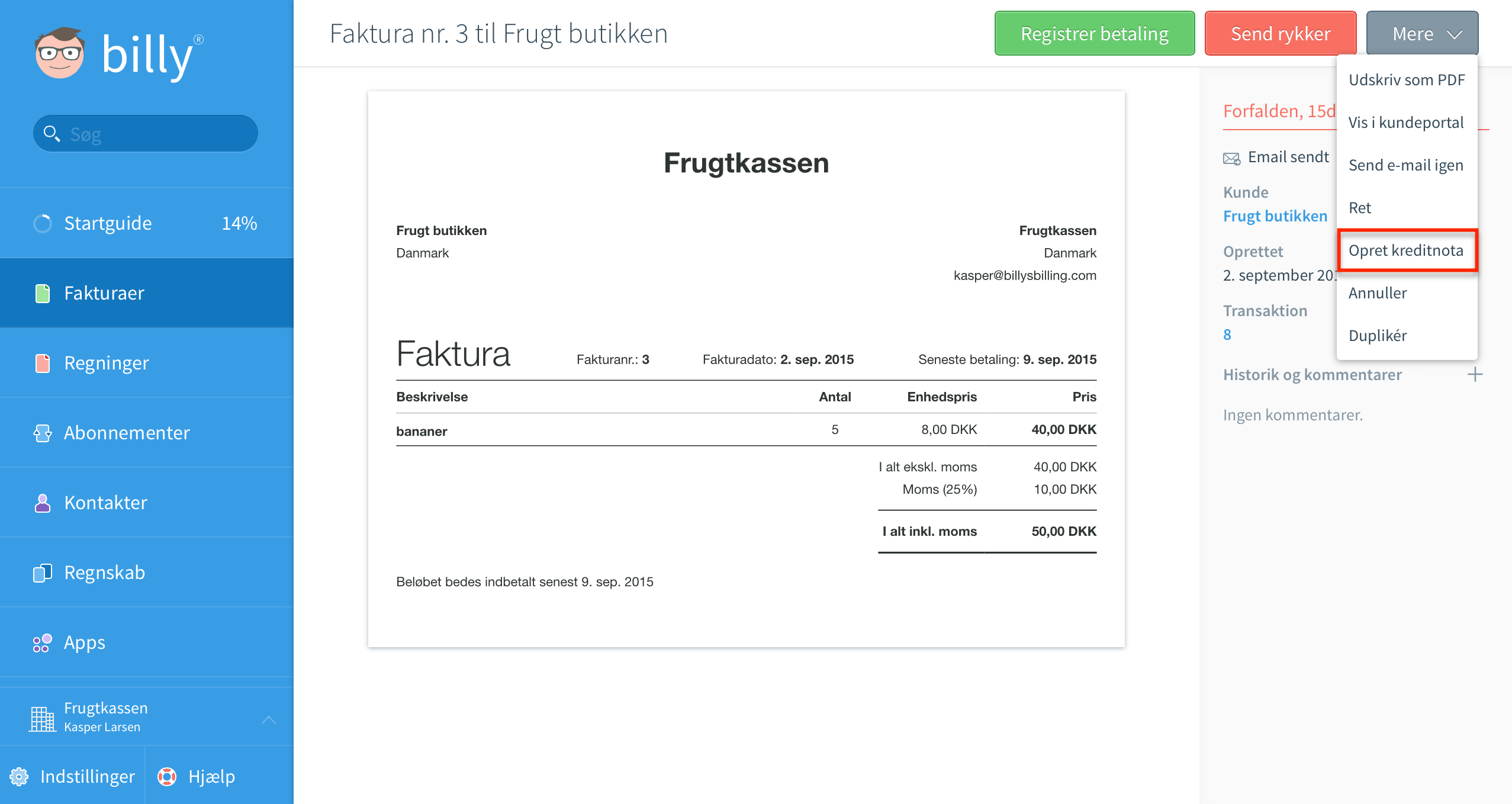 Kreditnota for en faktura