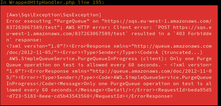 AWS PHP SDK exception