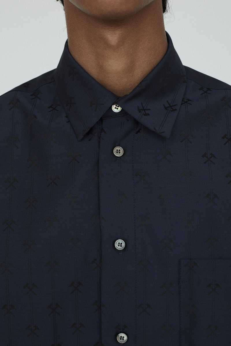 LINUS GMBH AW19 SHIRT NAVY FRONT BUTTONS