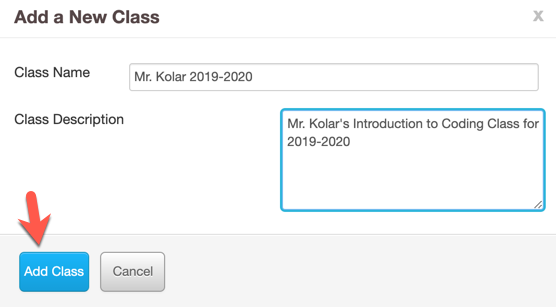 "Screenshot of new class form with sample class information filled in and an arrow pointing to the ""Add class"" button"
