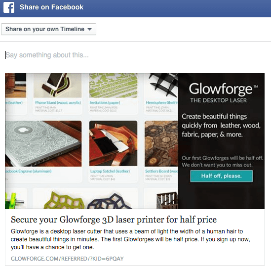glowforge facebook share