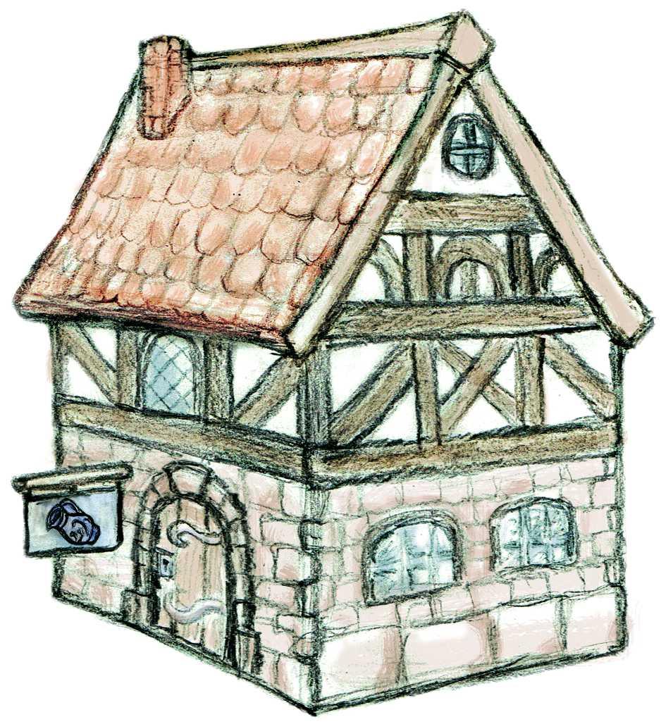 Titelbild für Grie Soß mit dem Zeichnung einer altmodischen Taverne im Fachwerkbau und einem Ladenschild mit Apfelweinkrug