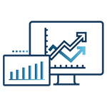 Ícone com gráficos e relatórios representando relatórios personalizados