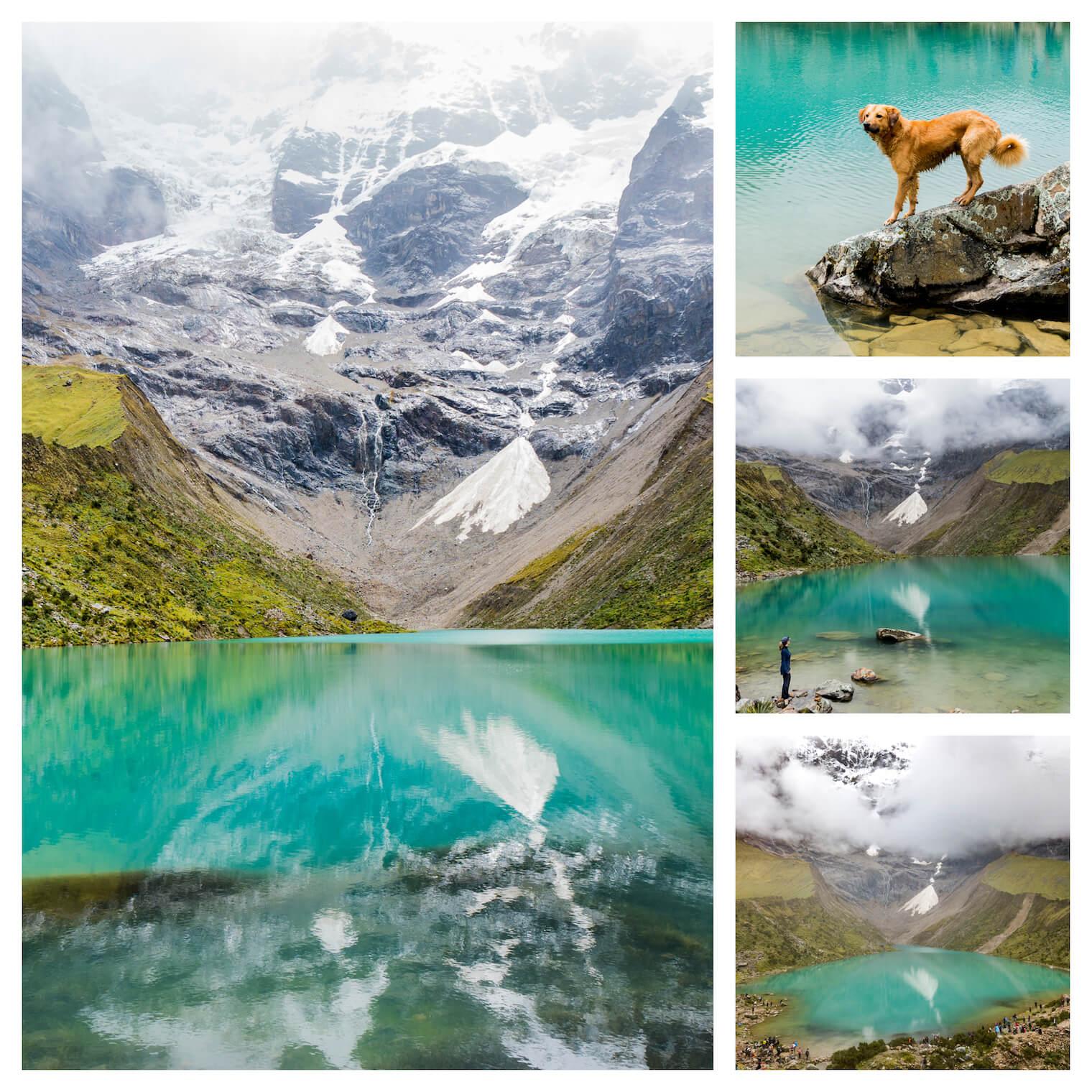 4 fotos: em destaque a esquerda: a foto de um lago verde e azul turquesa com bastante reflexo e montanhas nevadas atras. Superior direita: um cachorro aproveitando o lago. Meio direita: uma garota em pé perto do lago observando ele. Inferior direita: vista do lago atraves de um drone.