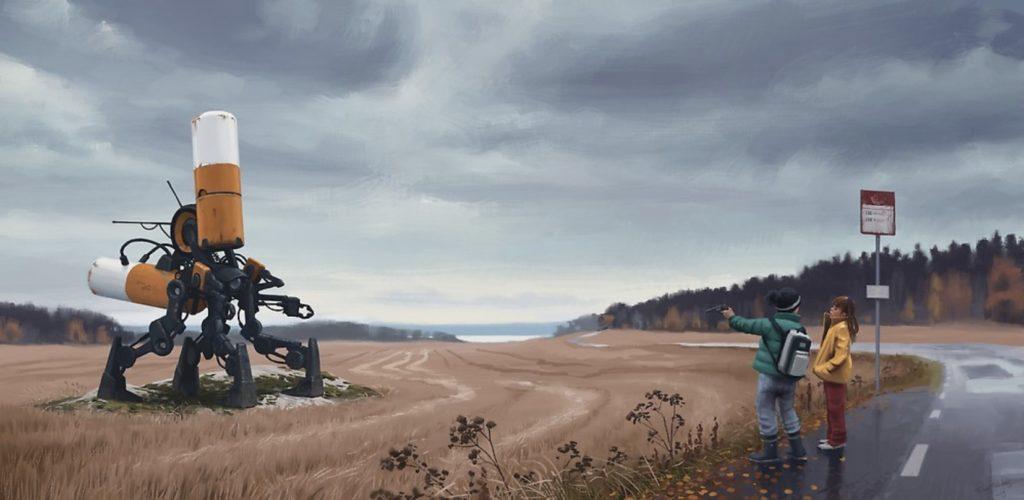 Painting of 2 children with gun confronting a large 4-legged robot. Åkersnuten by Simon Stålenhag.