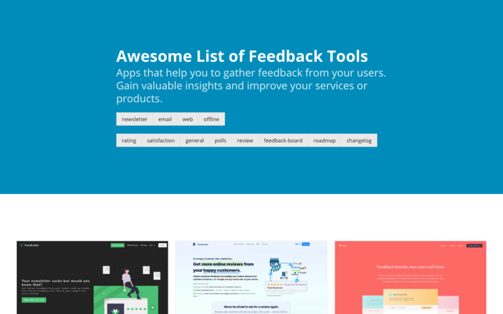 awesome list of feedback tools for ratins, reviews, feedback boards and more