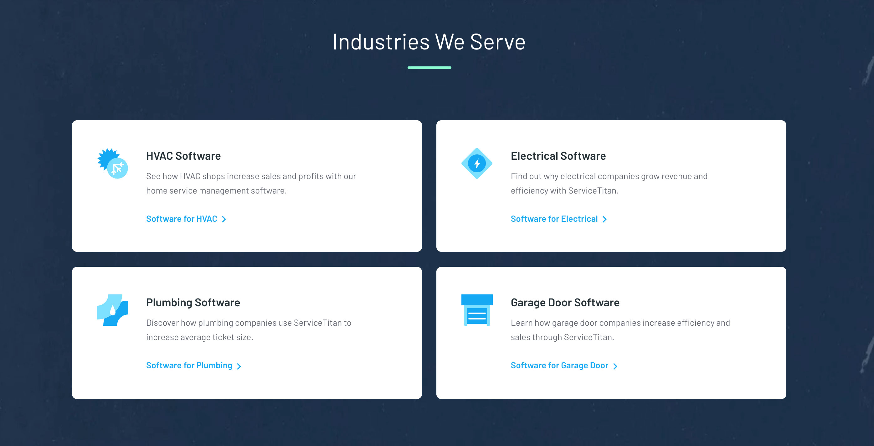 Links on the homepage to the new Industry pages.