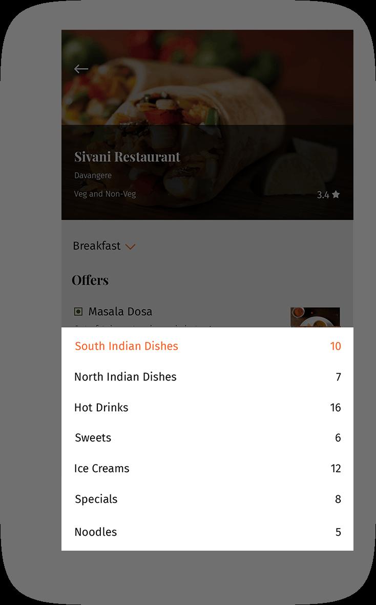 Restaurant management app screen