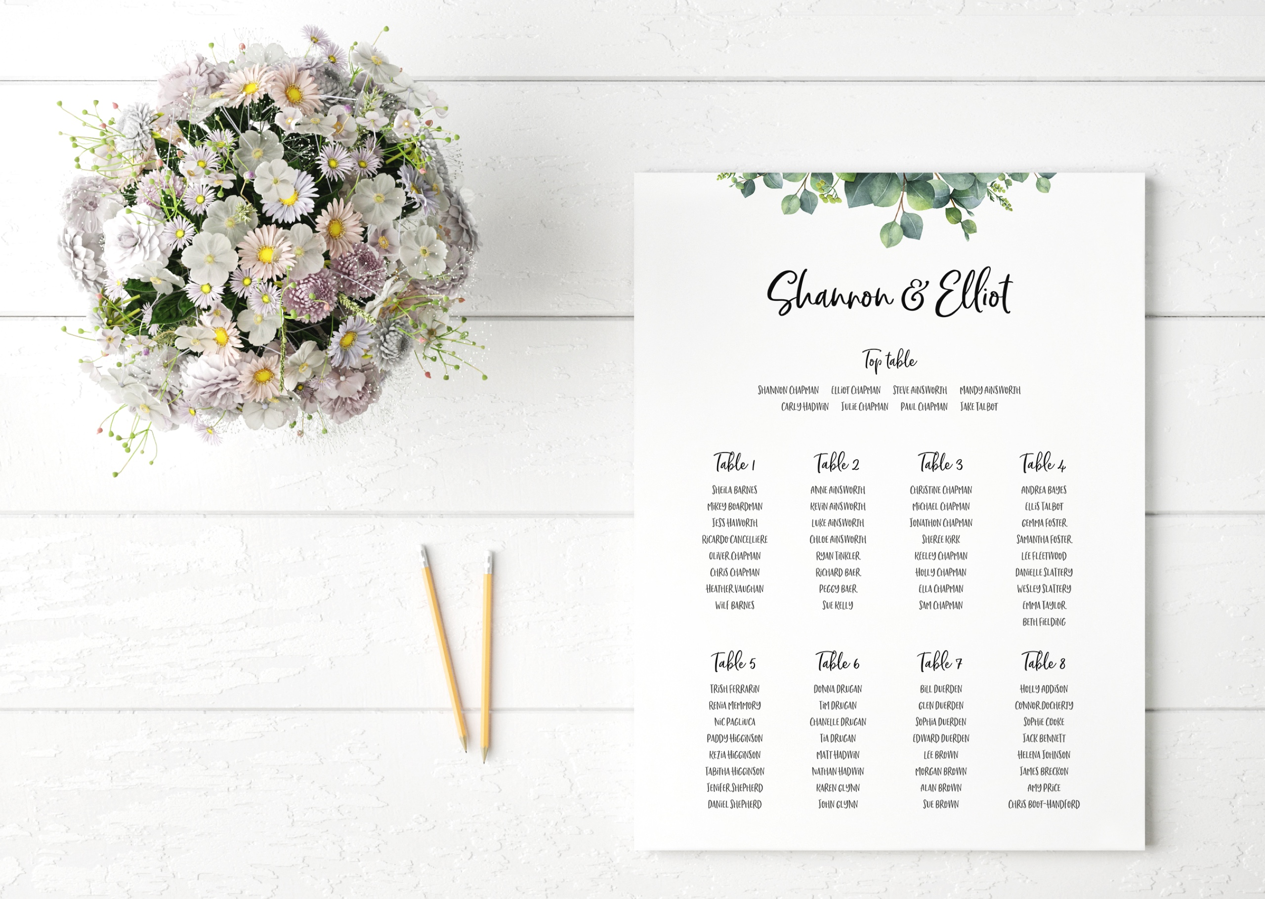 Bespoke wedding table plan design for Shannon and Elliot