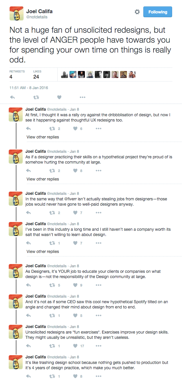 Screesnhot of Joel Califa tweets linked below.