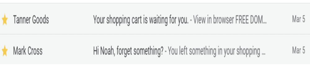2 abandoned cart email subject line example