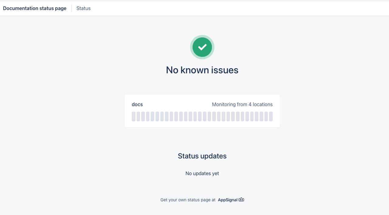Screenshot of uptime monitoring page