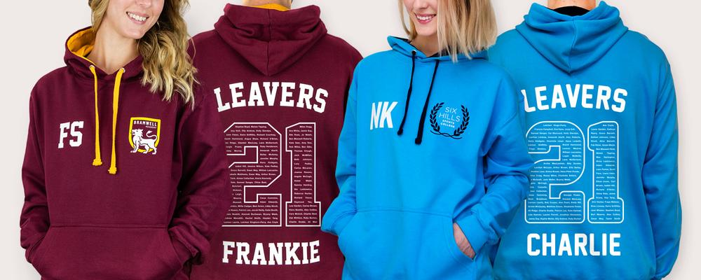 students in colourful school leavers hoodies with a big 21 printed on the back