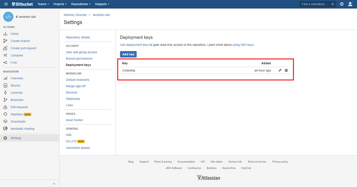 bitbucket delete deployment key