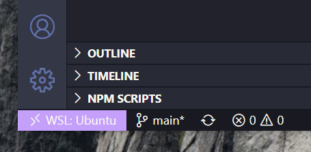 Editor de textos VS Code com o WSL ativo