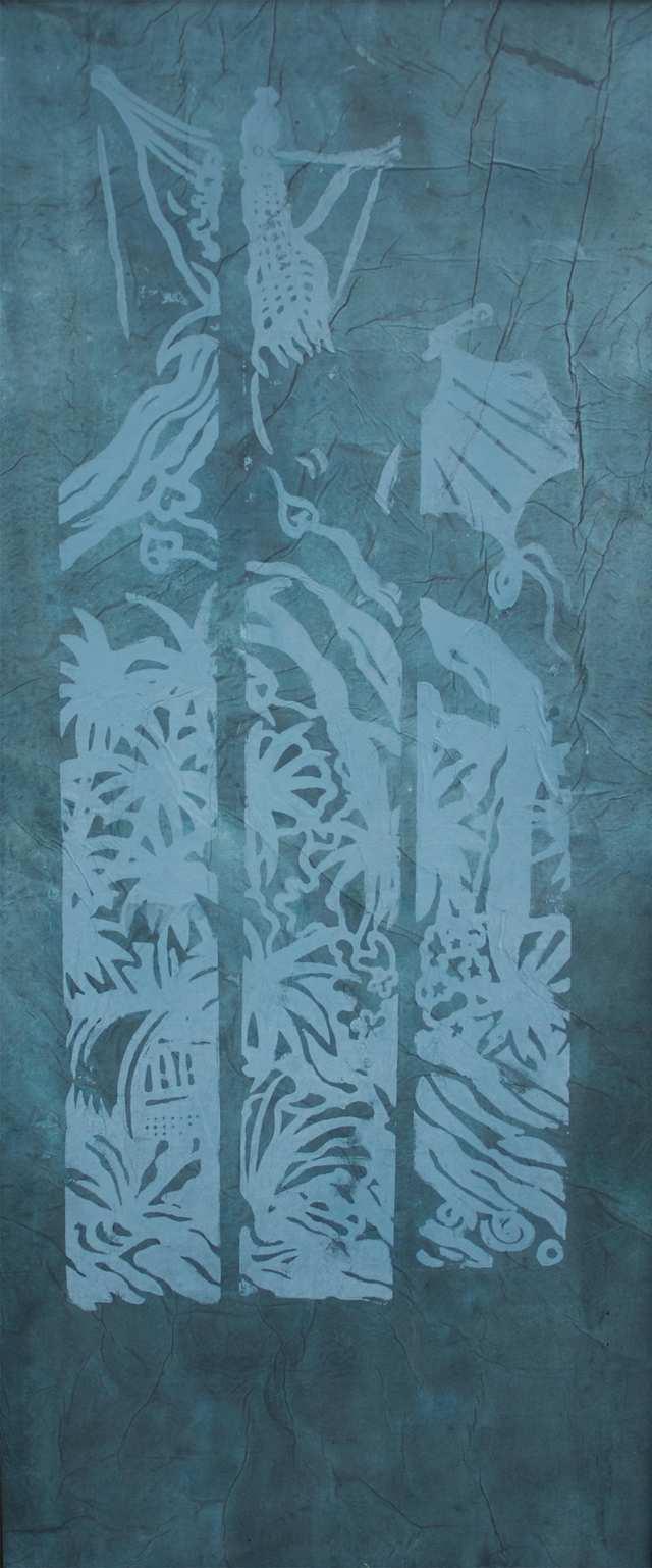 Layang-Layang Blue, woodblock monoprint on rice paper and canvas