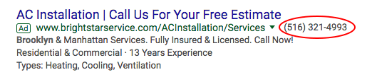 Call Extension on HVAC Google Ad