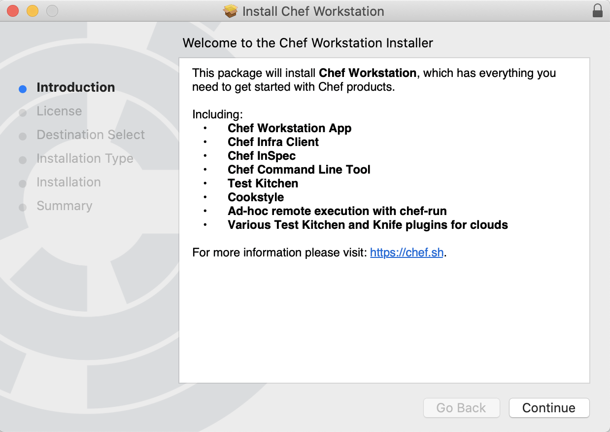 Chef Workstation Installation Screenshot showing included products - Chef Workstation App, Chef Infra Client, Chef InSpec, Chef Command Line Tool, Test Kitchen, Cookstyle, Ad-hoc remove execution with chef-run, Various Test Kitchen and Knifeplugins for Clouds