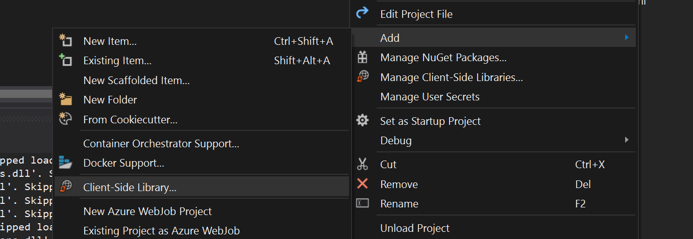 Add client side library