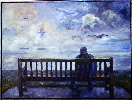 painting of a figure on a bench from behind