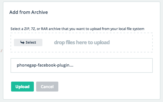 Add from archive dialog with newly download zip selected