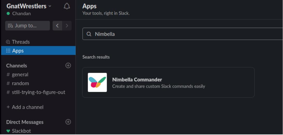 adding nimbella commander to slack in the apps tab in slack