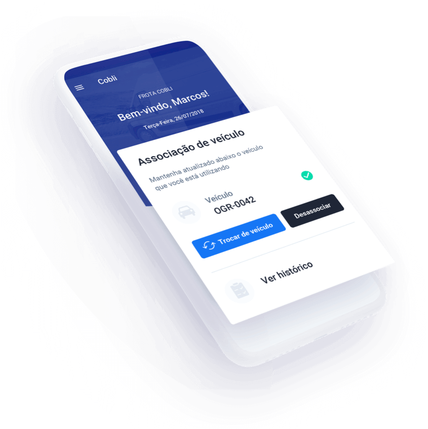 O aplicativo da Cobli na tela de um celular