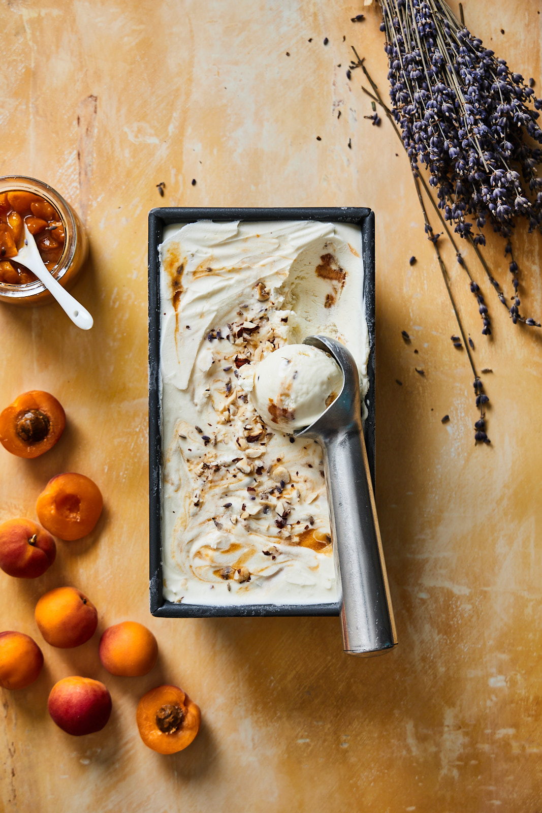 No Churn Caramelized Apricot and Lavender Ice Cream