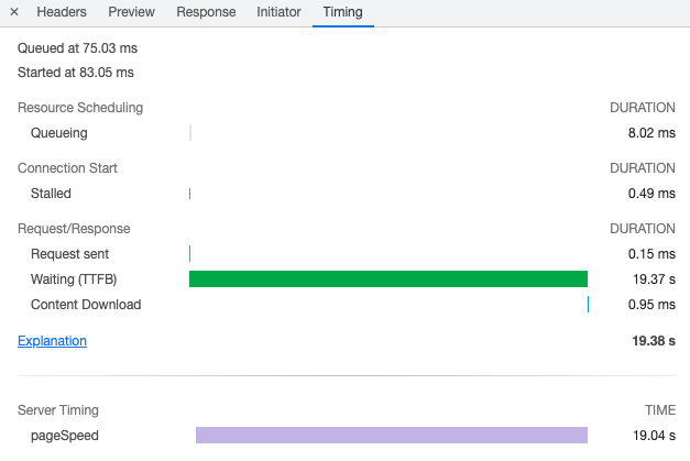 Server-Timing headers in the Chrome Dev Tools