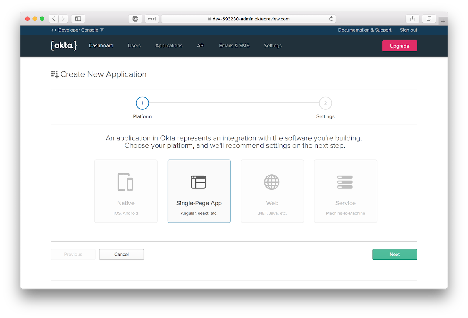 Use the Okta Application Wizard to create a new app