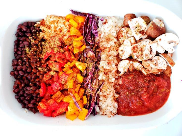 Salsa, Mushroom, Onion, Peppers, Black Beans in Casserole Dish