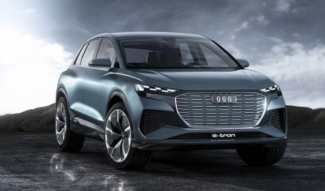 The Audi Q4 E-Tron SUV, an all-electric SUV from Audi - unveiled in the Geneva Auto Show